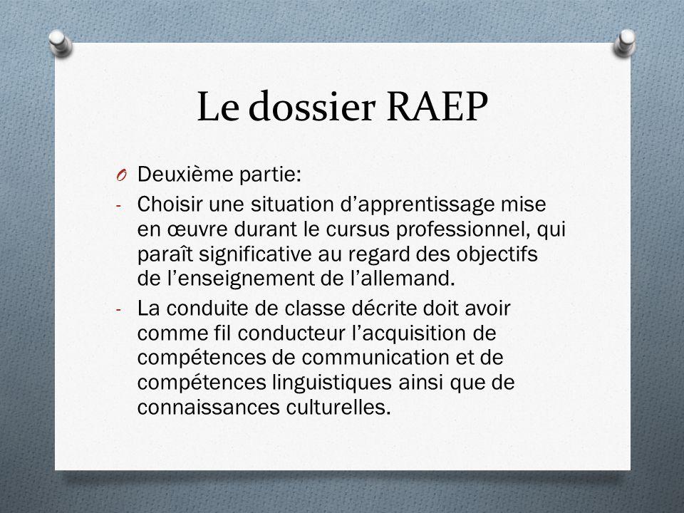 Le dossier RAEP Deuxième partie: