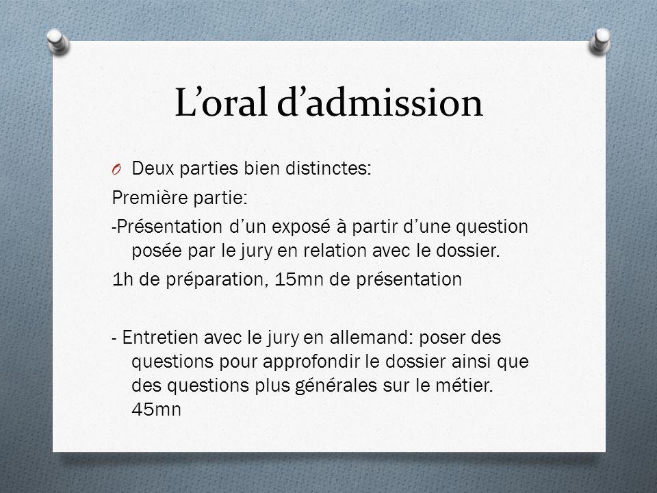L'oral d'admission Deux parties bien distinctes: Première partie: