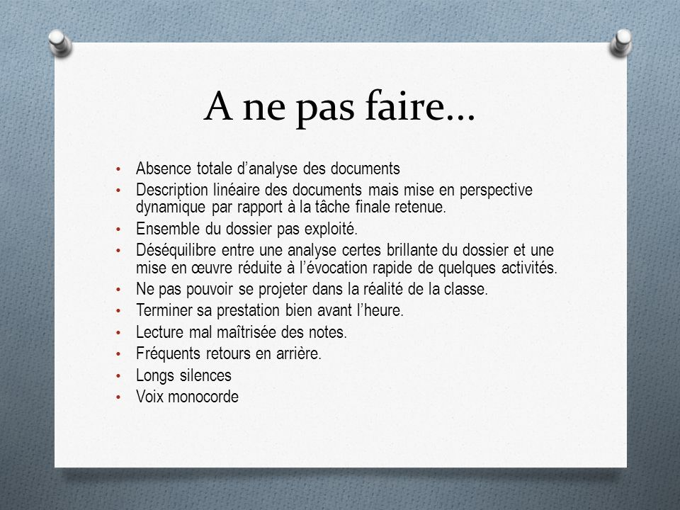 A ne pas faire... Absence totale d'analyse des documents