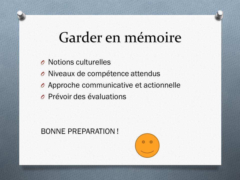 Garder en mémoire Notions culturelles Niveaux de compétence attendus