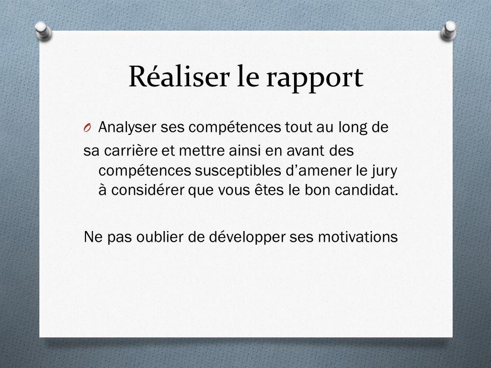 Réaliser le rapport Analyser ses compétences tout au long de
