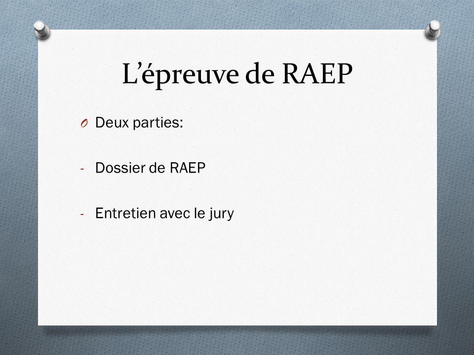 L'épreuve de RAEP Deux parties: Dossier de RAEP Entretien avec le jury