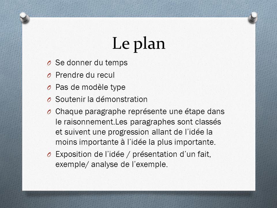 Le plan Se donner du temps Prendre du recul Pas de modèle type