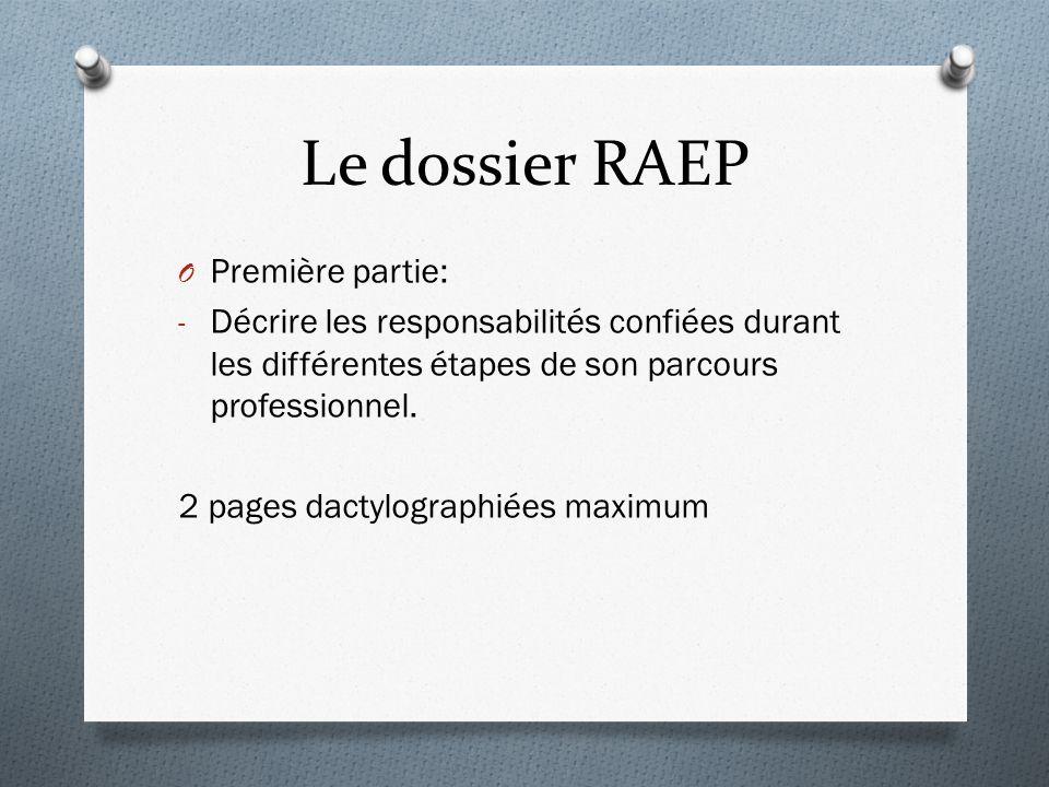 Le dossier RAEP Première partie: