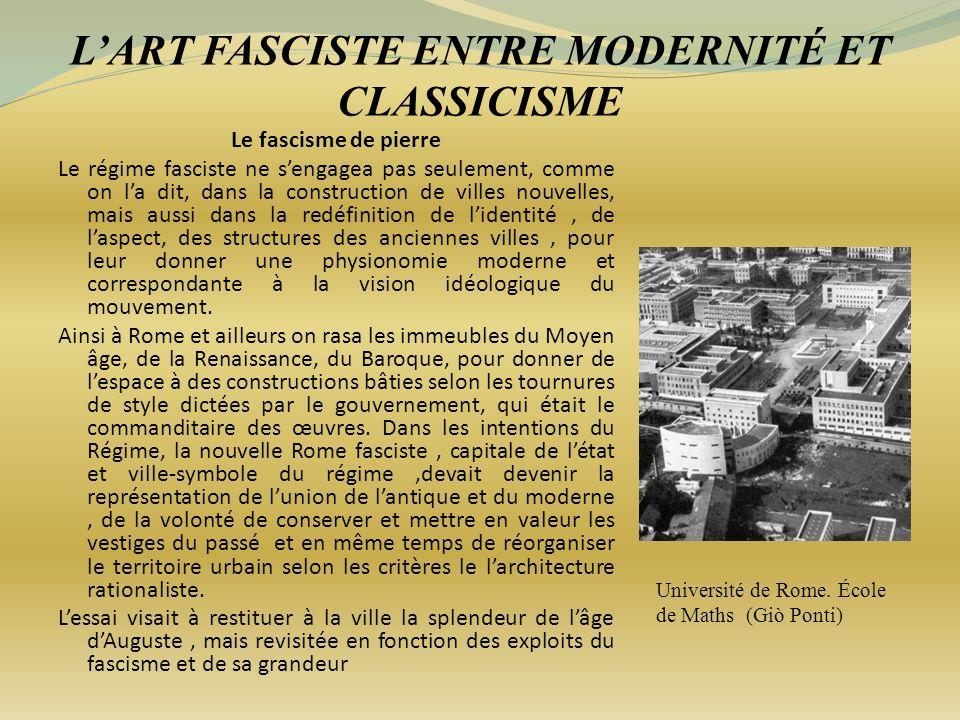 L'ART FASCISTE ENTRE MODERNITÉ ET CLASSICISME