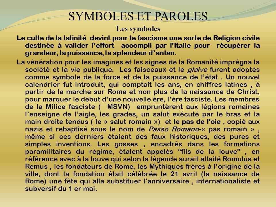 SYMBOLES ET PAROLES Les symboles