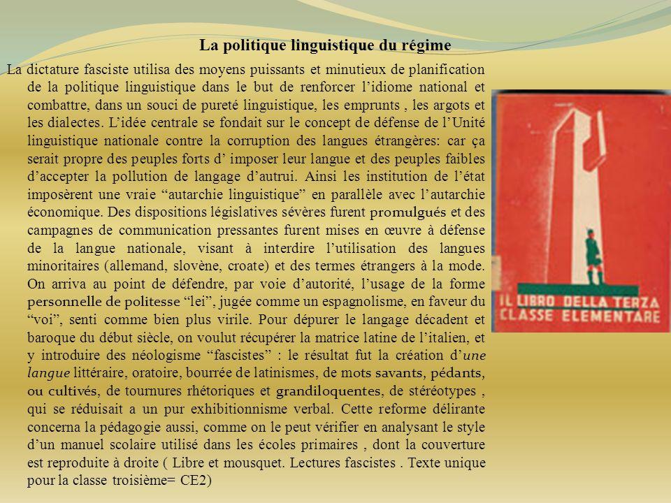 La politique linguistique du régime
