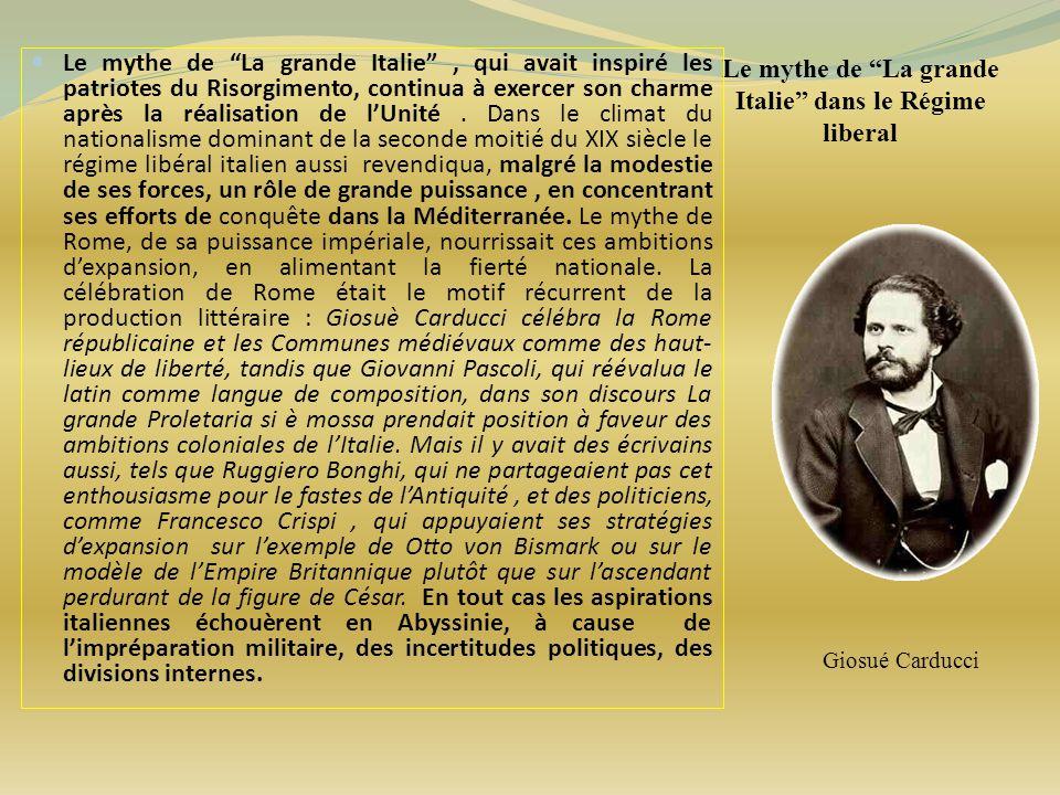 Le mythe de La grande Italie dans le Régime liberal