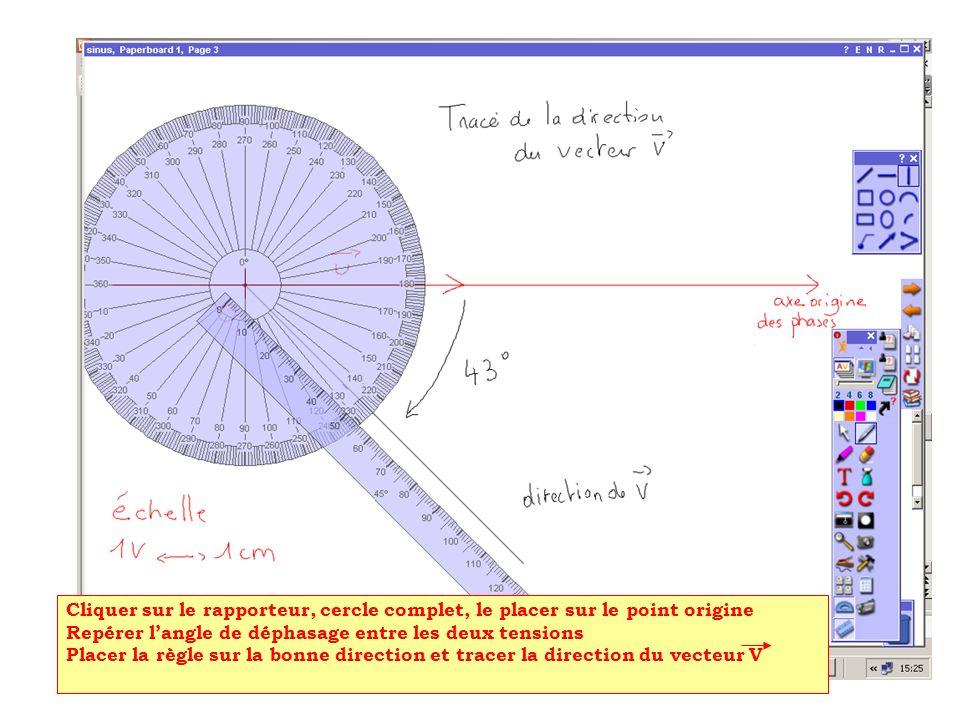 Cliquer sur le rapporteur, cercle complet, le placer sur le point origine
