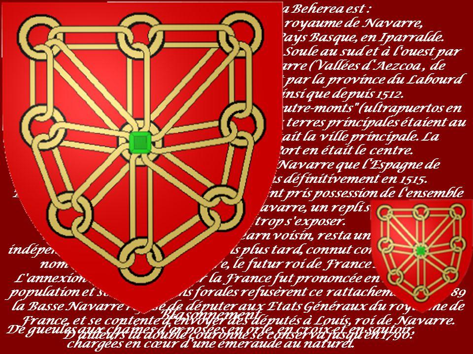 Blasonnement La Basse-Navarre Nafarroa Beherea est :