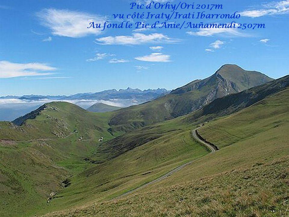 vu côté Iraty/Irati Ibarrondo Au fond le Pic d'Anie/Auñamendi 2507m