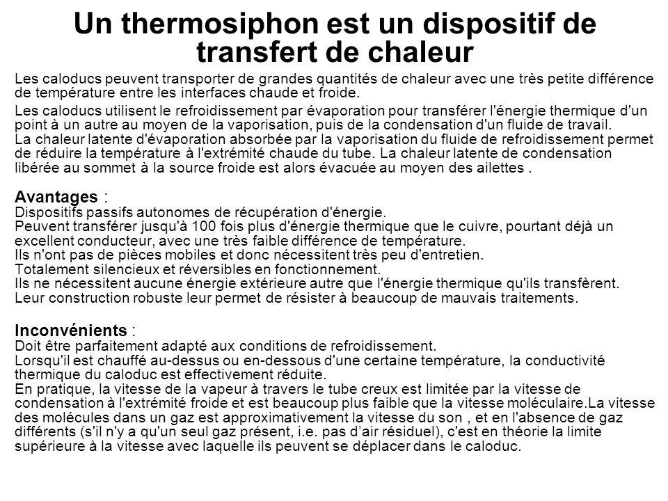 Un thermosiphon est un dispositif de transfert de chaleur