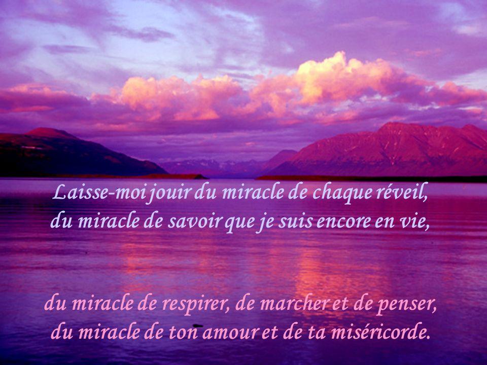 Laisse-moi jouir du miracle de chaque réveil, du miracle de savoir que je suis encore en vie,