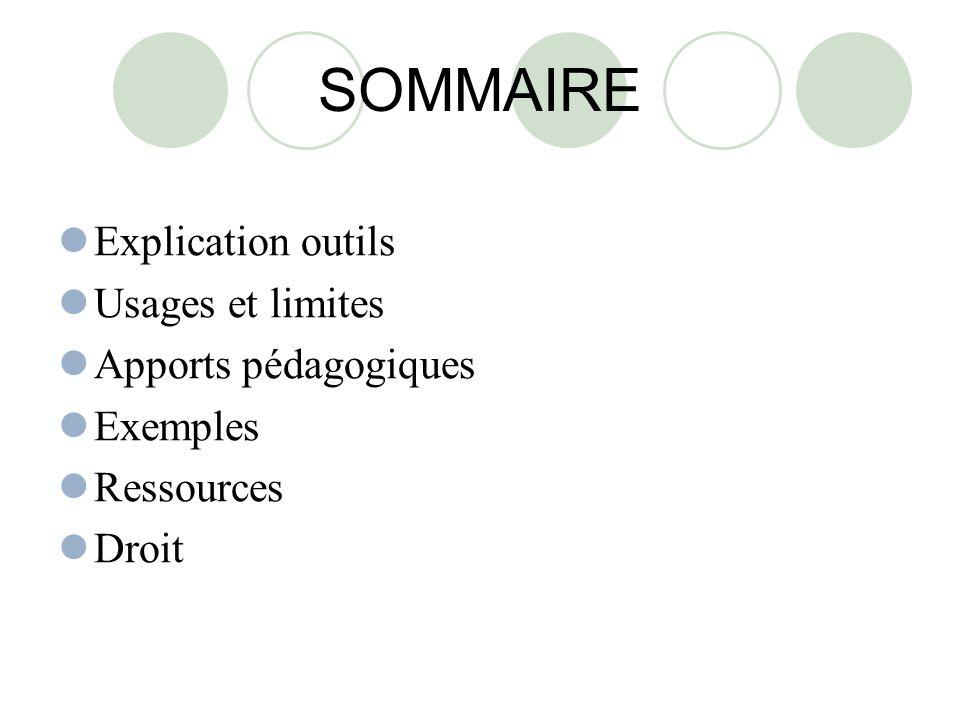 SOMMAIRE Explication outils Usages et limites Apports pédagogiques