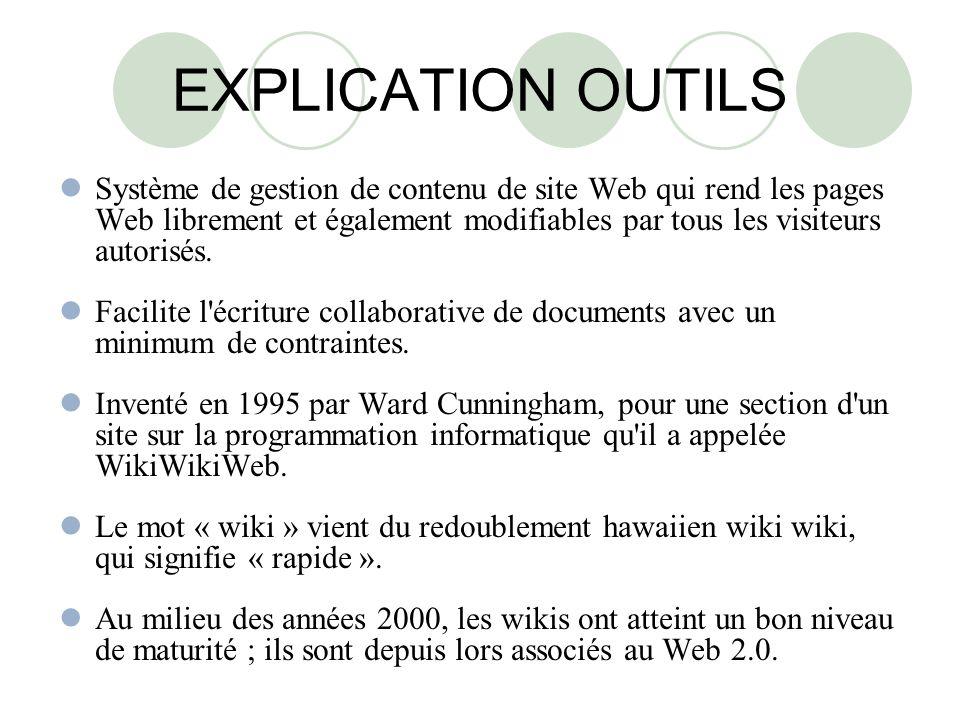 EXPLICATION OUTILS