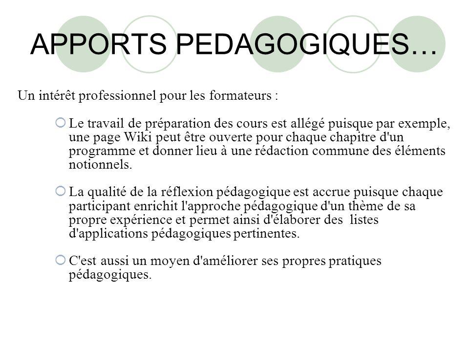 APPORTS PEDAGOGIQUES…