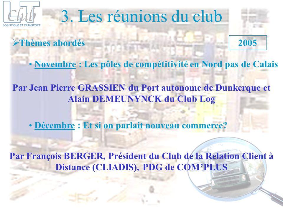 3. Les réunions du club Thèmes abordés 2005
