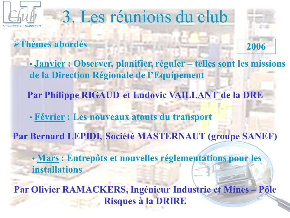 3. Les réunions du club Thèmes abordés 2006