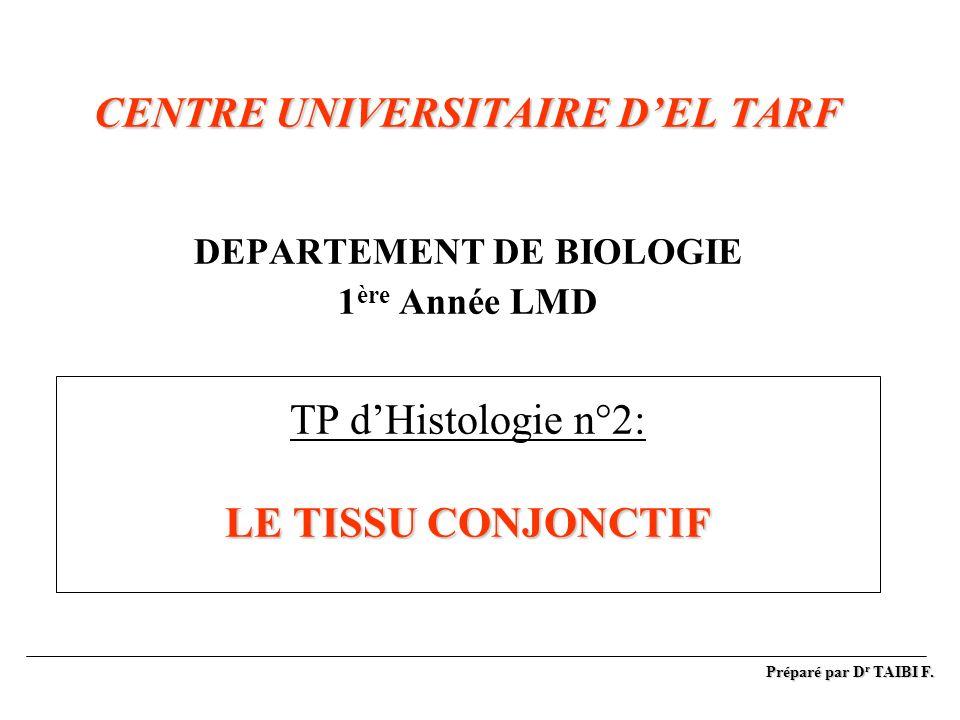 CENTRE UNIVERSITAIRE D'EL TARF DEPARTEMENT DE BIOLOGIE 1ère Année LMD TP d'Histologie n°2: LE TISSU CONJONCTIF