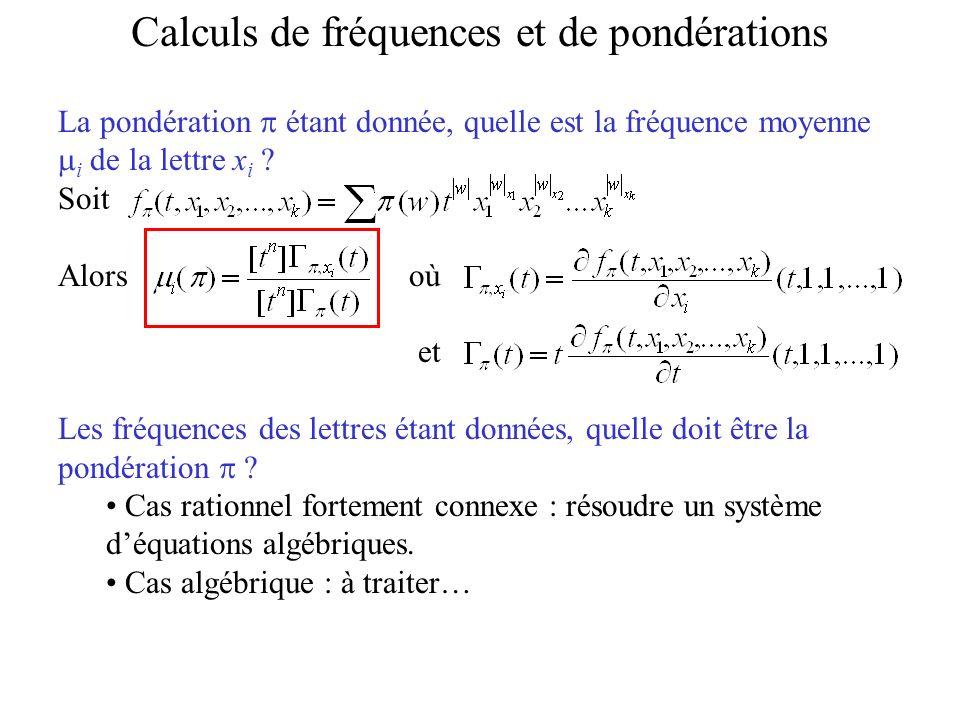 Calculs de fréquences et de pondérations
