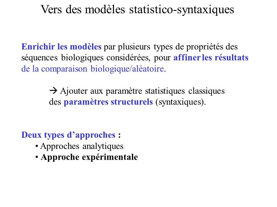 Vers des modèles statistico-syntaxiques