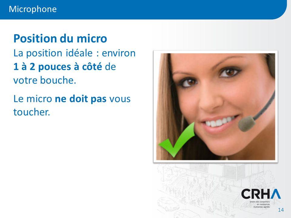 Microphone Position du micro La position idéale : environ 1 à 2 pouces à côté de votre bouche.