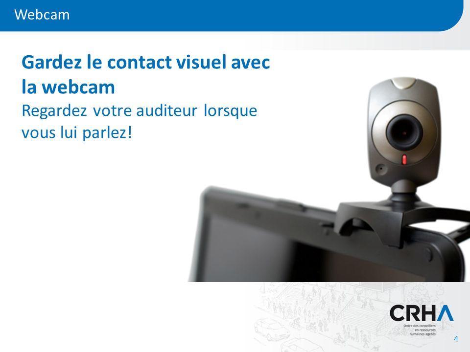 Webcam Gardez le contact visuel avec la webcam Regardez votre auditeur lorsque vous lui parlez!