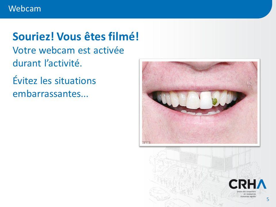 Souriez! Vous êtes filmé! Votre webcam est activée durant l'activité.