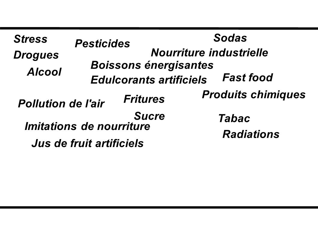 Stress Sodas. Pesticides. Nourriture industrielle. Drogues. Boissons énergisantes. Alcool. Fast food.