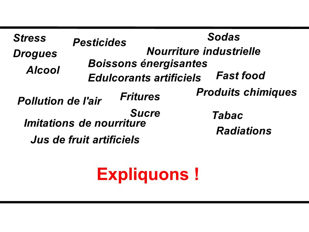 Expliquons ! Sodas Stress Pesticides Nourriture industrielle Drogues