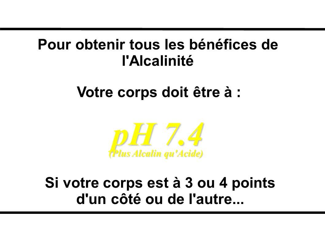 pH 7.4 Pour obtenir tous les bénéfices de l Alcalinité