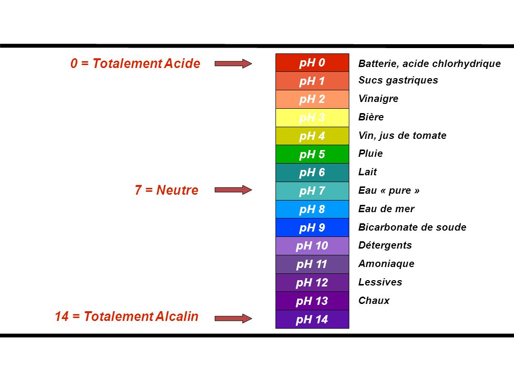 0 = Totalement Acide 7 = Neutre 14 = Totalement Alcalin pH 0 pH 1 pH 2