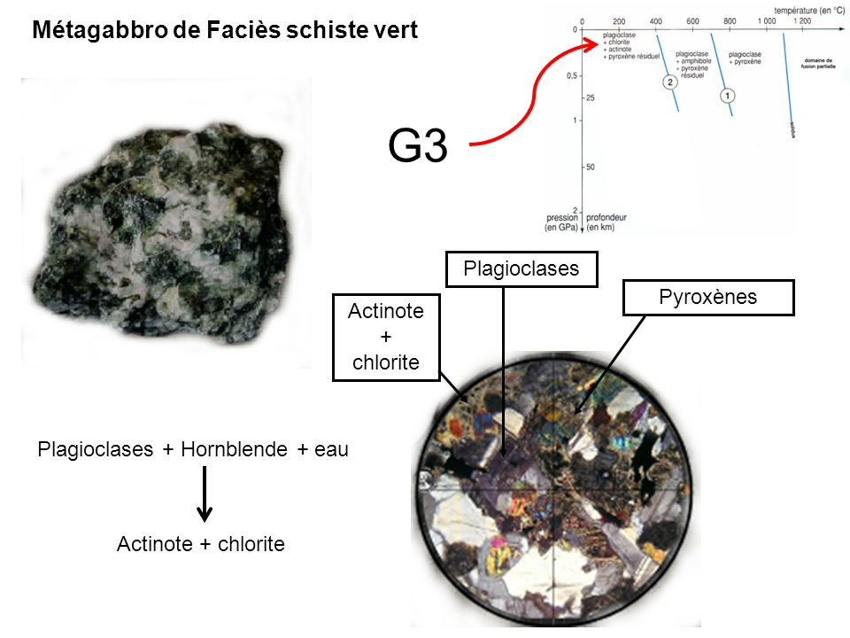 G3 Métagabbro de Faciès schiste vert Plagioclases Pyroxènes Actinote +