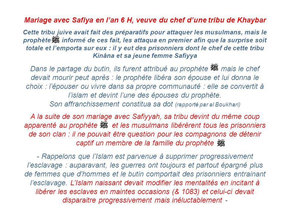 Mariage avec Safiya en l'an 6 H, veuve du chef d'une tribu de Khaybar