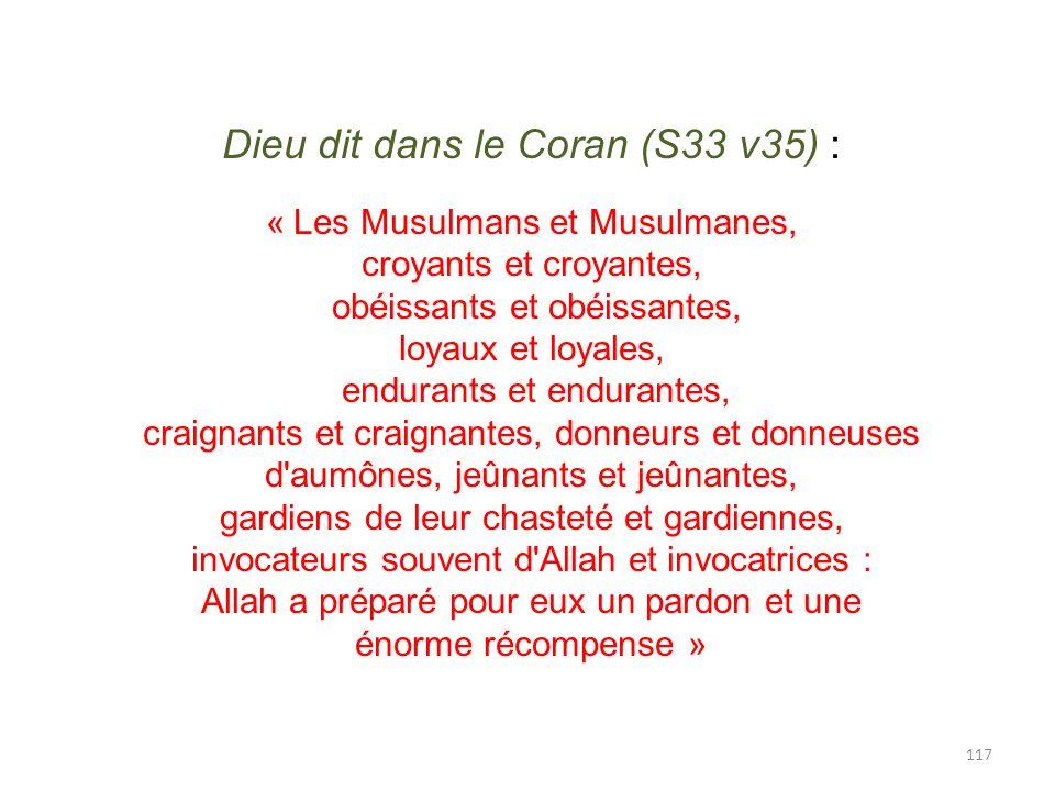 Dieu dit dans le Coran (S33 v35) :