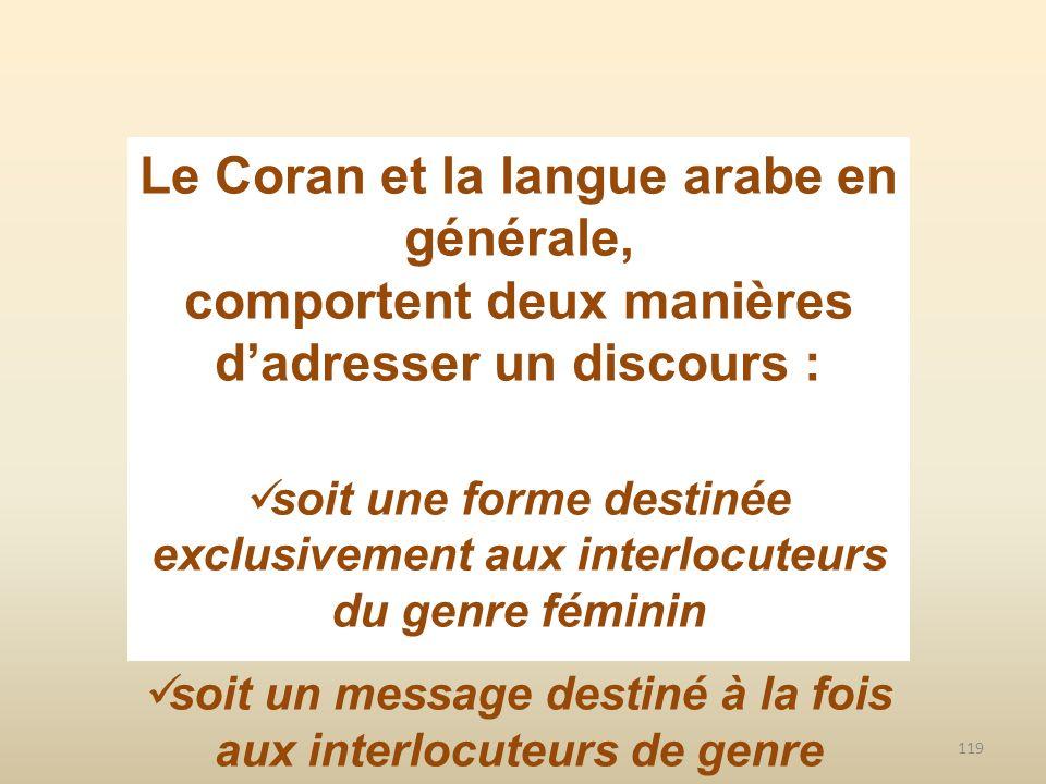 Le Coran et la langue arabe en générale,