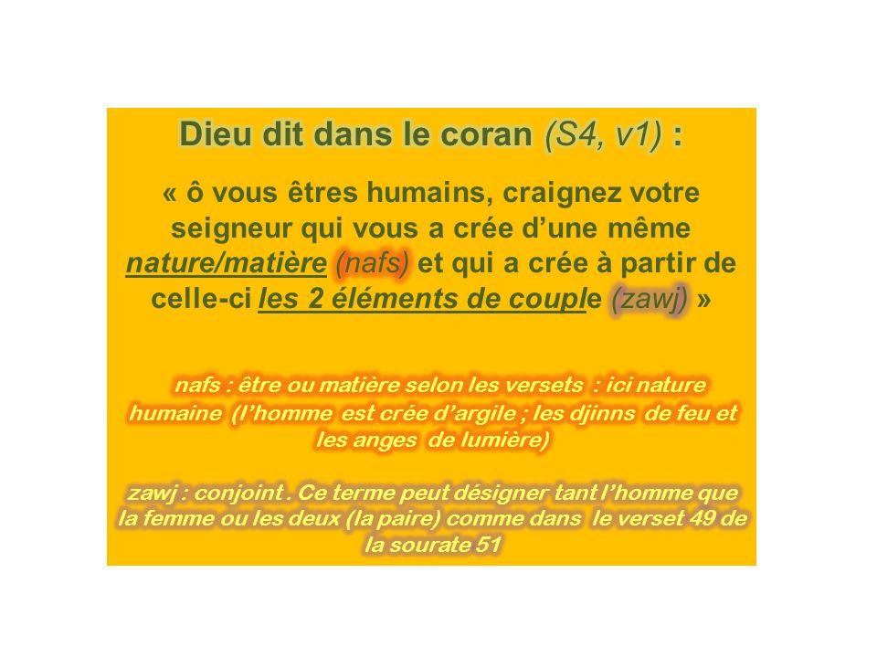Dieu dit dans le coran (S4, v1) :