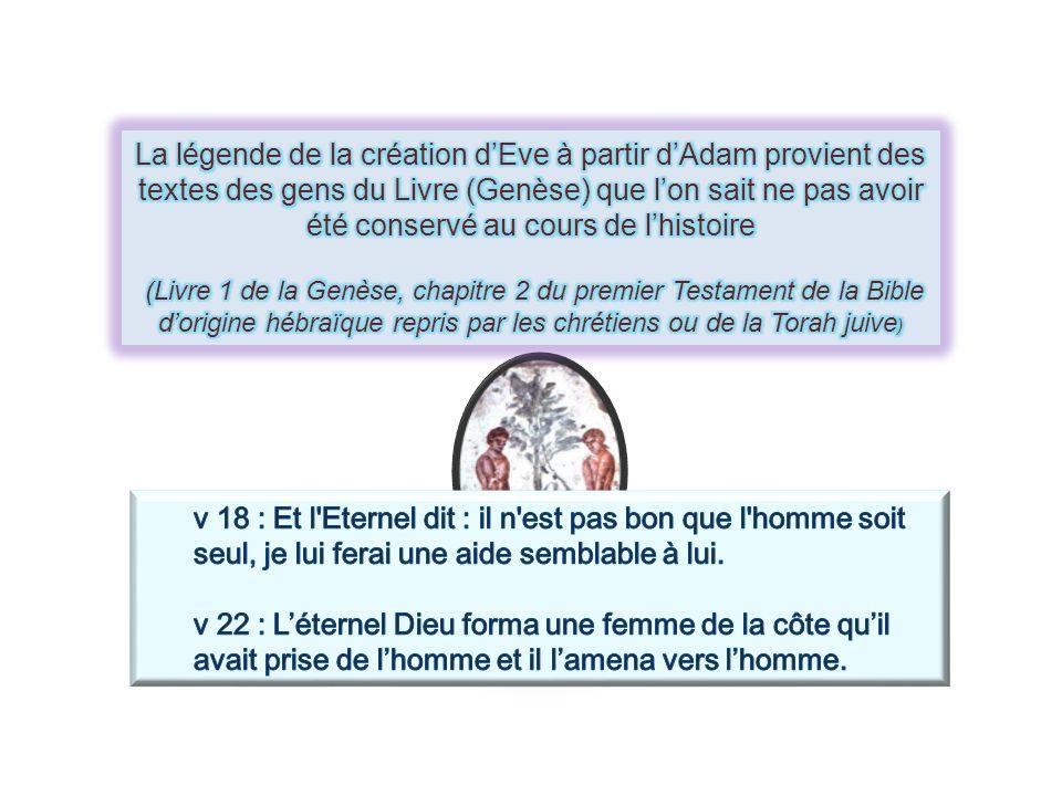 La légende de la création d'Eve à partir d'Adam provient des textes des gens du Livre (Genèse) que l'on sait ne pas avoir été conservé au cours de l'histoire