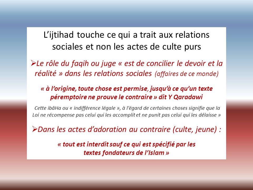 L'ijtihad touche ce qui a trait aux relations sociales et non les actes de culte purs