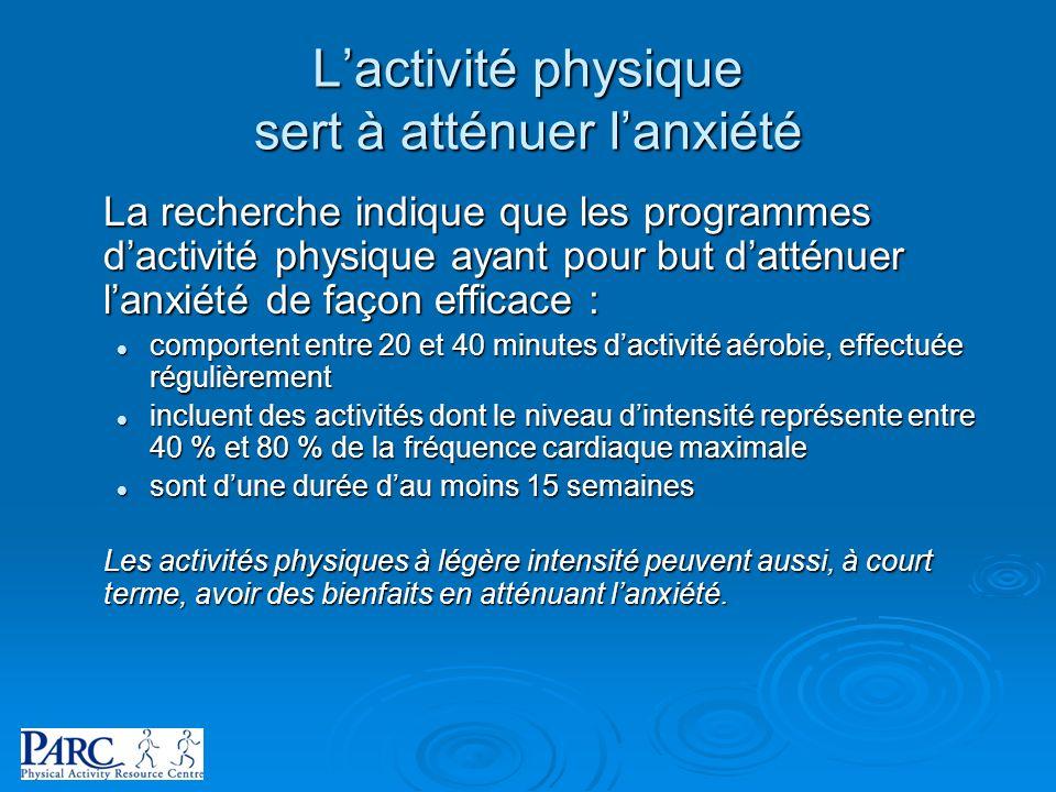 L'activité physique sert à atténuer l'anxiété