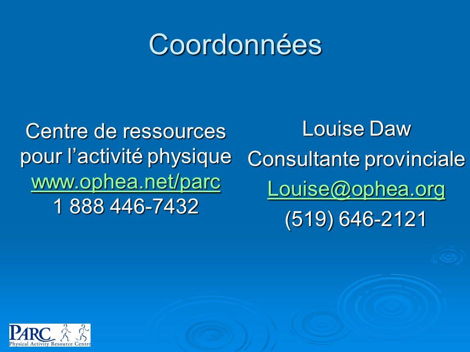 Coordonnées Louise Daw Centre de ressources Consultante provinciale