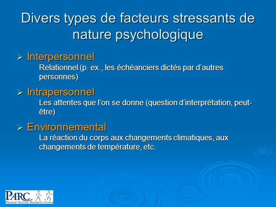 Divers types de facteurs stressants de nature psychologique