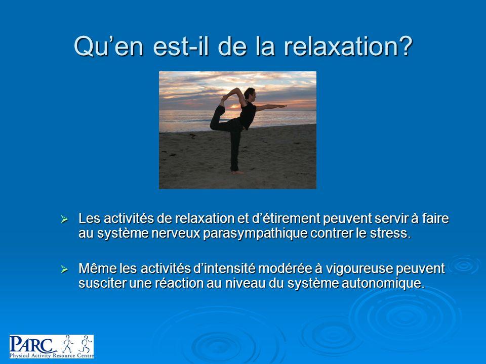 Qu'en est-il de la relaxation
