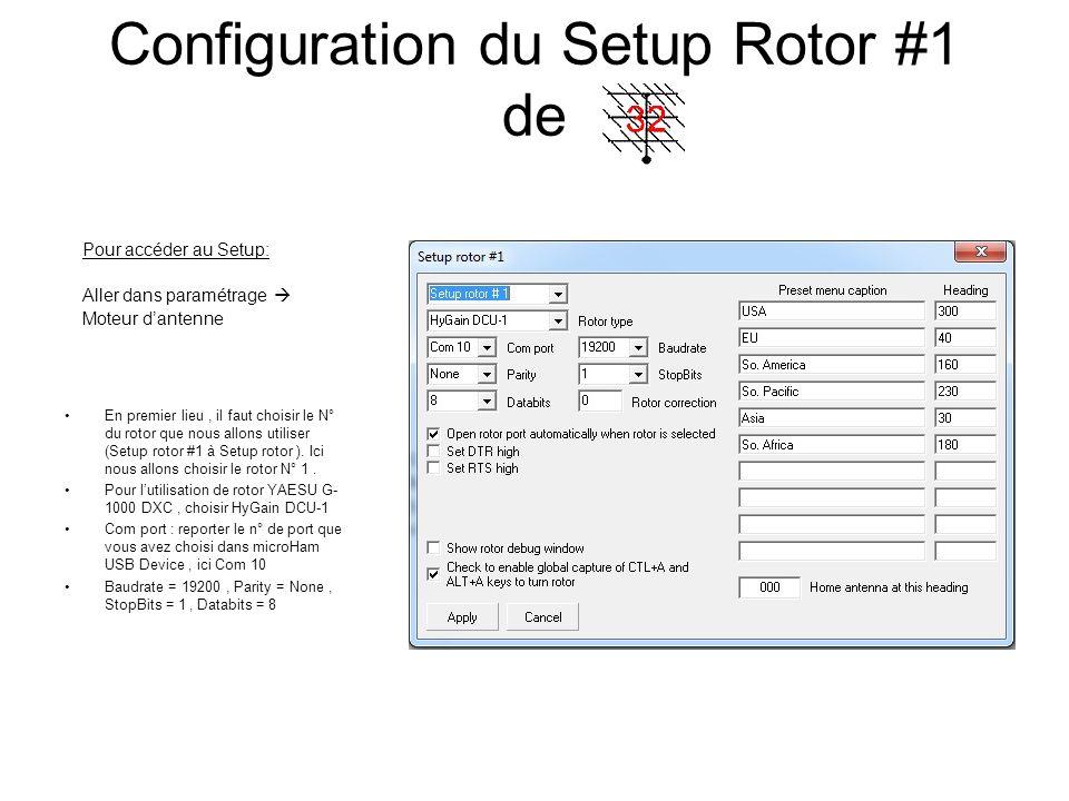 Configuration du Setup Rotor #1 de