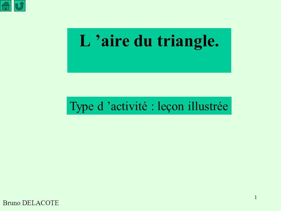 L 'aire du triangle. Type d 'activité : leçon illustrée Bruno DELACOTE