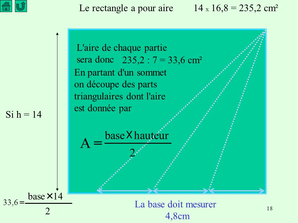A = base hauteur 2 Le rectangle a pour aire 14 x 16,8 = 235,2 cm²