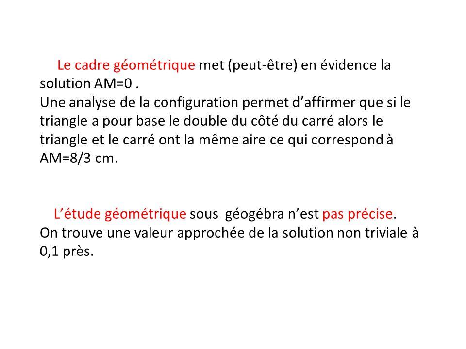 Le cadre géométrique met (peut-être) en évidence la solution AM=0