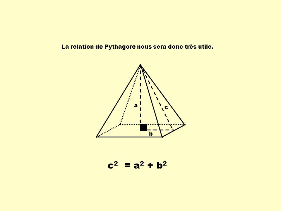 La relation de Pythagore nous sera donc très utile.