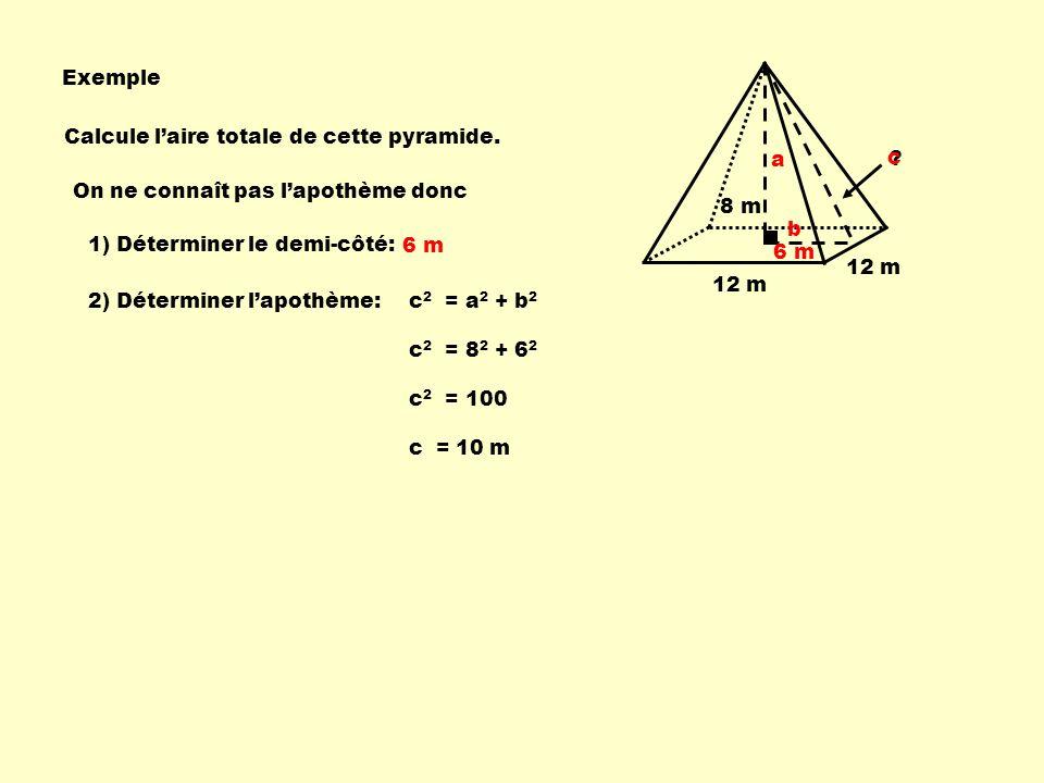 Exemple Calcule l'aire totale de cette pyramide. c. b. a. On ne connaît pas l'apothème donc.