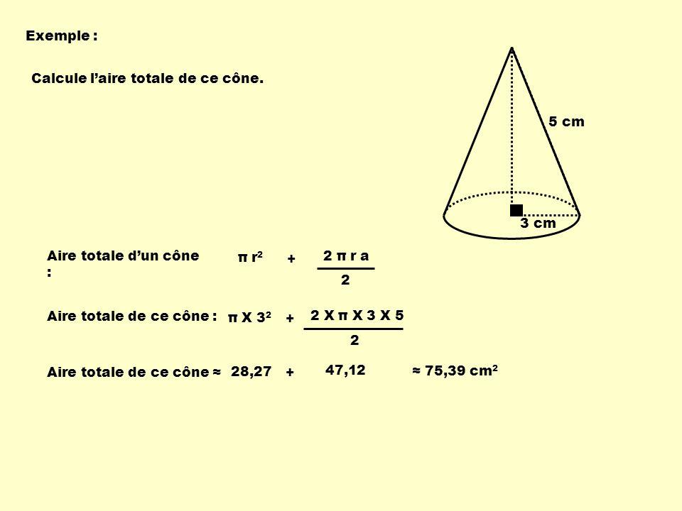 Exemple : 3 cm. 5 cm. Calcule l'aire totale de ce cône. Aire totale d'un cône : π r2. + 2 π r a.
